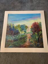 """Madani  """"Untitled"""" Original Oil Painting on Canvas Board, Hand Signed 19W x 19H"""
