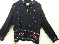 Vintage bird jumper cardigan Christmas style cotton ramie Chris & Banks black L