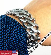 "Heavy Chunky 25mm Wide Cuban Link Stainless Steel Silver 9"" Mens Bracelet & box"