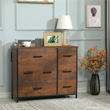 Bedroom Hallway 7 Drawer Dresser Fabric Storage Chest Clothes Organizer Walnut