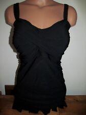 Lands End womens black shaping tankini 18 tunic ruffle swimsuit top  CUTE!