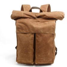 Men's Vintage Canvas Oil Wax Backpack Waterproof Shoulder Bag Leisure Handbag Khaki