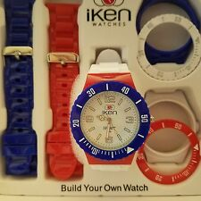 WATERFROOF Iken Build Your Own Watch Red White and Blue Gift Box