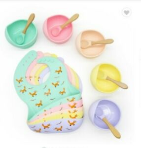 Baby Silicone BPA Weaning Bib, Bowl And Bamboo Spoon Set