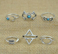 6Pcs Turquoise Arrow Moon Statement Midi Rings Set Women Jewelry Fashion NEW