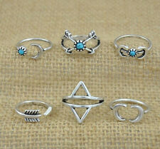 Wholesale 6 Pcs Turquoise Arrow Moon Statement Midi Rings Set Women Jewelry