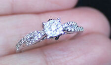 New 14K S6 3/8ct Diamond Micro Cluster Bridal Engagement Promise Ring White Gold