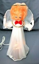 Vintage Lighted Angel Tree Topper, White Dress with Net Wings and Gold Halo