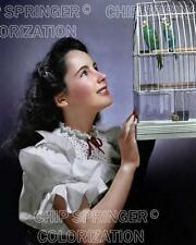 ELIZABETH TAYLOR (YOUNG) WITH PARAKEETS BEAUTIFUL COLOR PHOTO BY CHIP SPRINGER