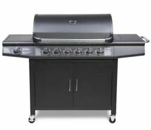 CosmoGrill 6+1 Deluxe Gas Black Barbecue Grill incl Side Burner  (sealed return)