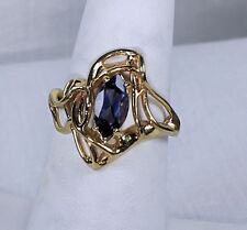 Handcrafted Tanzanite 14k Yellow Gold Ring, Size 7 ½