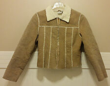 NEWPORT NEWS Ladies Suede Coat Sz S Tan Leather White Sherpa Easy Style Short