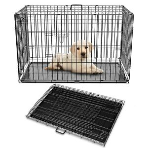 """Pet Adore Dog Puppy Metal Training Cage Crate Black Carrier 20"""" - 48"""""""