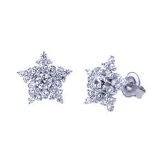 Fine Platinum Plated 925 Sterling Silver Cubic CZ Snowflake Womens Stud Earrings