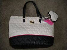 Betsey Johnson cream & black quilted hearts handbag purse with coin purse NWT