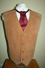 Western Cowboy Mens 48 Tan Leather Suede Vest Steampunk Safari