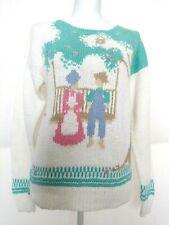 Fairy Kei kawaii Vintage Woman Large Pastel Sweater Cute people Couple On Swing