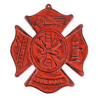 Red Fireman's Plaque Cast Iron Firefighter Symbols Wall Decor Maltese Cross