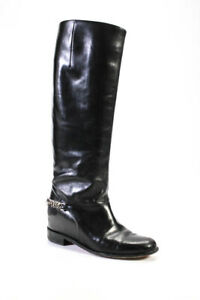 Christian Louboutin Womens Chain Accent Leather Riding Boots Black Size 38 8