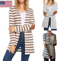 Women Striped Long Cardigan Coat Long Sleeve Casual Loose Sweater Jacket 50