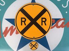RAILROAD CROSSING porcelain coated 18 gauge steel sign INCLUDES magnet