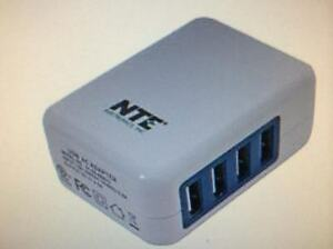 NTE 4-PORT USB AC ADAPTER 5VDC 4AMP OUTPUT 100-240VAC 50-60HZ INPUT WITH FOLDING