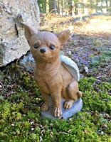 Chihuahua Dog Angel, Gray Concrete Garden Statue, Cement Pet Memorial, Marker