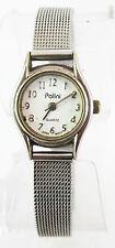 Polini Womens Quartz Round White Dial Silver-Tone Stainless Steel Watch
