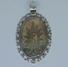 Designer Carved SHELL CAMEO Pendant in 925 Sterling Silver - 4.8 Cm  - #K6