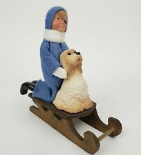 """Byers' Choice """"The Carolers"""" 1991, Boy With Dog On Sled"""