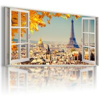 FRANCE PARIS EIFFEL TOWER 3D Window Canvas Wall Art Picture  W398 MATAGA.