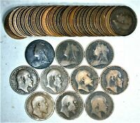 (39) Different between 1860's & 1960's Great Britain Penny Lot / Collection #2