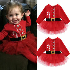 Kids Baby Girl Cute Red Christmas Xmas Santa Claus Party Tulle Dress Outfits Uk