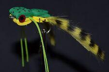Hand Tied Top Water Bass Flies- Yellow/Green Foam Frog Size 2/0 hook