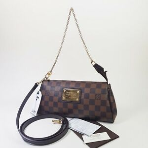 Auth Louis Vuitton Eva Clutch Damier Ebene N55213 With Purchase Receipt LC694