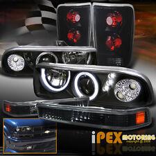 Black Halo Projector LED Headlight + Dark Smoke Tail Light + Signal Chevy Blazer