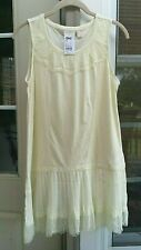LOGO BY LORI GOLDSTEIN CLOUD CREAM COTTON TANK ~ LACE & PLEATED TRIM ~ XS