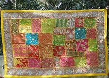 Tapis mural Tenture Dessus de table Patchwork Fait main Boho Hippie Inde T1