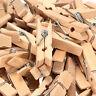 100Pcs Mini 35mm Natural Wooden Clothes Photo Paper Peg Clothespin Craft Clips