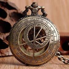 Classic Mens Steampunk Mechanical Constellation Zodiac Pocket Watch Hand-winding