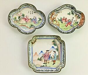 Three Antique Chinese Canton Enamel Dishes Scholars