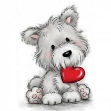 Wild Rose Studio - Clear Rubber Stamps - Scotty / Westie Dog With Heart - 503