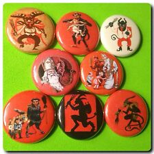 KRAMPUS 1in buttons pinbacks CHRISTMAS HOLIDAY XMAS WINTER SANTA CLAUS