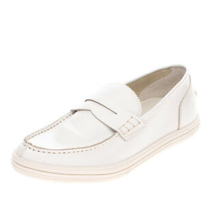 RRP€170 ALBERTO GUARDIANI DRIVE Leather Penny Loafer Shoes EU 39 UK 5 US 6 White