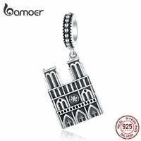 BAMOER European Notre Dame CZ Dangle Charm 925 Sterling silver Bracelet Jewelry