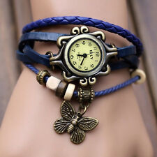Women Vintage Charm  Butterfly Bracelet Faux Leather Quartz Wrist Watch Blue HA