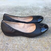 Naturalizer Women's Sz 6 Black Smooth & Patent Leather Slip On Flats Loafer Shoe