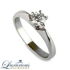 Women Solitaire Diamond Ring D VVS1 Round Cut 1/2 Carat 14K White Gold