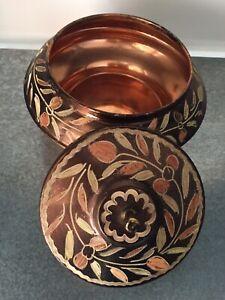 Beautiful Antique Handmade Middle Eastern Lidded Jar Urn Box Pot Copper