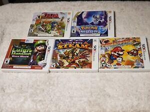 Lot of 5 Nintendo 3ds games: Pokemon , Luigi's Mansion, Paper Mario, Zelda ++